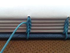 Detalhe de um caderno com costura copta