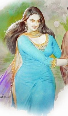 Sexy Painting, Girl Face Painting, India Painting, Woman Painting, Indian Women Painting, Indian Art Paintings, Watercolor Girl, Watercolor Landscape Paintings, Beauty Full Girl