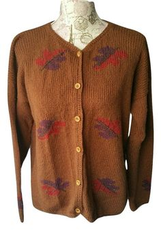 Planet Earth Cardigan Sweater Handloomed Peru 100% Cotton Leaves Brown Size M #PlanetEarth #Cardigan