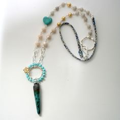 Cream and turquoise spike necklace £16.00