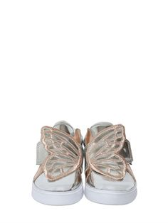 SOPHIA WEBSTER - EMBROIDERED WING LEATHER SNEAKERS - LUISAVIAROMA - LUXURY SHOPPING WORLDWIDE SHIPPING - FLORENCE