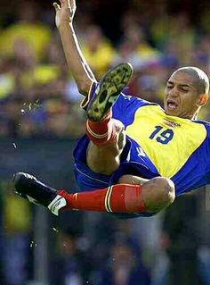 Colombia 2 Venezuela 0 in 2001 in Barranquilla. Freddy Grisales tries a spectacular shot at goal in Group A at Copa America.