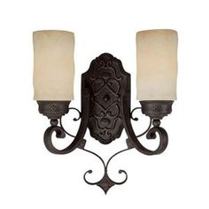 Filament Design 2-Light Rustic Iron Rust Scavo Glass Sconce-CLI-CPT203395516 at The Home Depot