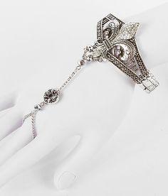 BKE Fleur de Lis silver Hand Jewelry slave bracelet. pretty!