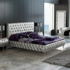623 Lorena Modern Bedroom Set In Silver   Queen Size
