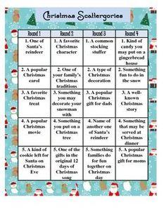 FREE CHRISTMAS SCATTERGORIES HOLIDAY GAME - TeachersPayTeachers.com