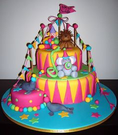 Adorable Bright Circus Birthday Cake