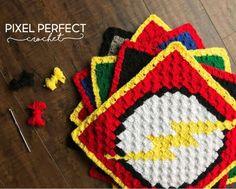 Justice League The Flash Crochet Graph – Pixel Perfect Crochet Crochet C2c Pattern, C2c Crochet Blanket, Crochet Cross, Crochet Pillow, Crochet Blanket Patterns, Crochet Yarn, Free Crochet, Free Pattern, Superman Crochet