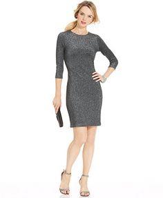 Karen Kane Three-Quarter-Sleeve Metallic Dress