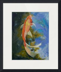 Butterfly Koi Painting Canvas Print / Canvas Art by Michael Creese Koi Painting, Painting Prints, Art Prints, Framed Prints, Canvas Prints, Large Painting, Painting Canvas, Framed Wall, Koi Art