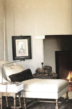 linen interiors | Axel Vervoordt, Timeless Interiors, chaise by the fire, edited by lb ...