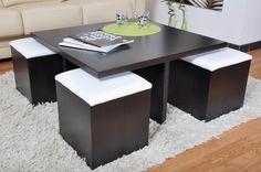 table basse carré wengé et 4 poufs more low table coffee tables ...