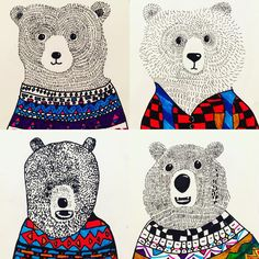 LOVE how these bears are coming out...amazing! 4th grade, on 9x12 paper. 3 sessions. Thanks again @art_room_britt #bearsofinstagram…