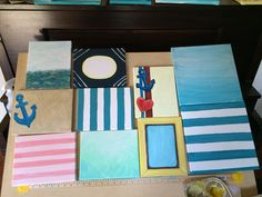 Hand painted canvases for do-it-yourself thank you party gifts.