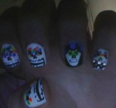 nail art. sugar skull