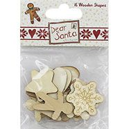 Dear Santa Wooden Shapes - Pack Of 16