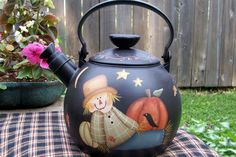 Primitive Fall Handpainted Scarecrow Teapot OOAK by Primgal
