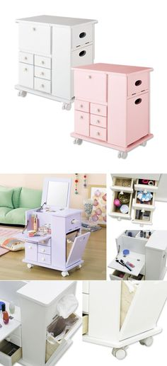 Wala! Japanese-style Large Dresser, choose from white or pink, space-saving hidden mirror to open only when use, functional multi-drawer design for easy storage of cosmetics and accessories, wheeled-feet for mobility, compact form suitable for any household! Limited Offer! ($1688 value)