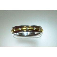 Verragio style DWB-0040M Diamond Wedding Band 0.10 ct Platinum & Yellow Gold