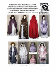 Ladies Georgian Regency Cloak with Hood Laughing Moon Costume Pattern 135 #LaughingMoon