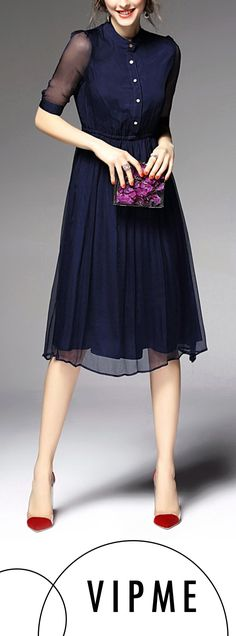 Silk is the Most Popular Material in this Summer. Silk Navy Blue Pleated Midi Dress is One of the . Pretty Outfits, Pretty Dresses, Beautiful Dresses, Cute Outfits, Blue Dresses, Pleated Midi Dress, Dress Skirt, Dress Up, Dress Casual