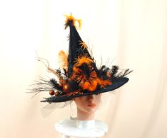 Orange and Black Witch Hat * Witch Costume * Halloween Decor * Witch Decor…