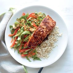 15. Salmon with Lime-Hoisin Glaze with Crunchy Bok Choy Slaw - 31-Day Healthy Meal Plan - Cooking Light