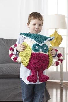 Yarnspirations.com - Bernat Huggable Owl Pillow - Patterns    Yarnspirations