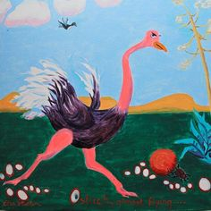 O is for Ostrich....'Ostrich, almost flying'