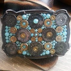 'Texas' Biggest Bodacious Bullet Buckle with Seafoam Swarovski Crystals & Rustic Base