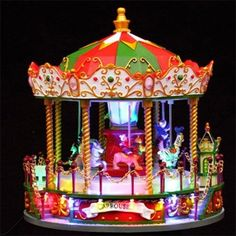 Décoration Carrousel Manège de noël Musical Animé Lumineu…