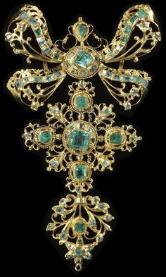 Find of the Month: Silver Croix de Saint Lô Pendant circa 1790-1830 | The Pragmatic Costumer. Gold and Emerald Pendant (Spanish), circa 1750