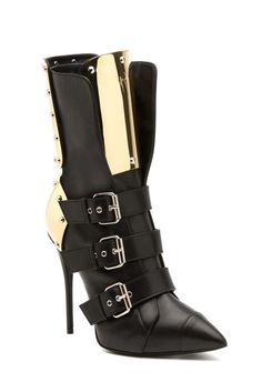 Giuseppe Zanotti Black Buckle Boots with Gold Mirror Details RTW Fall 2014 #Shoes #Heels