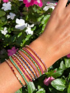 Eriness Jewelry Rainbow Baguette Tennis Bracelet