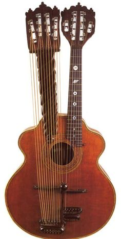 Joseph Bohmann c.1915 10 strings on the neck (the low 4 are doubled, so it is a standard 6-course neck) and 12 sub-bass strings, with 7 sympathetic rods inside! Joseph Bohmann . --- https://www.pinterest.com/lardyfatboy/