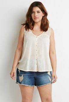 e91b998af8a Plus Size FOREVER 21+ Buttoned Lace Panel Top Plus Size Summer Fashion