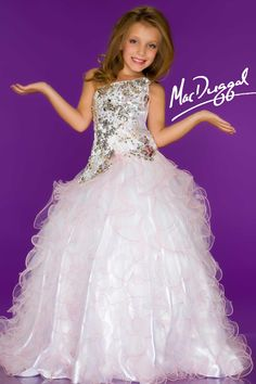 White Little Girls Pageant Dress - Mac Duggal 81676S