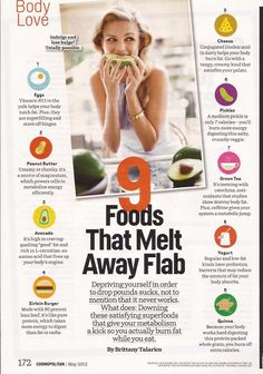 "9 Foods That Melt Away Flab! 1. EggsVitamin B12in the yolk helps your body torch fat. Plus, they are super filling and starve off binges. 2. Peanut ButterCreamy or chunky, it's a source of magnesium, which powers cells to metabolize energy. efficiently. 3. AvocadoIt's high in craving-quelling ""good"" fat and rich in L-carnitine, an amino acid that fires up your body's engine. 4. Sirloin BurgerMade with 90% lean beaf, it's like pure protei"