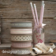Gorgeous ribbons in pinks, creams and grey http://www.designsonpine.co.uk/East-of-India-Ribbons-Tags-Bags/East-of-India-Ribbons?page=1