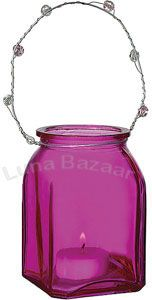 Fuchsia Pink Hanging Candle Holder and Vase (square design)