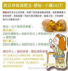 週末1公斤宿便排毒餐的原理,是利用大量的纖維質清洗腸道。不需要節食,只是把週五與周六晚上的晚餐,用排毒餐取代,即可達到週日上午痛快排除宿便的目標。 週末一公斤宿便排毒餐:  週五晚上:250克優酪乳+ 500克地瓜(蒸熟連皮吃)+蘋果2個  週六晚上:250克優酪乳+ 500克地瓜(蒸熟連皮吃)  週日早上:痛快排便,徹底清除宿便。