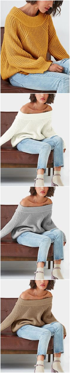 Grey Off The Shoulder Pullover Long Sleeves Sweater US$23.95