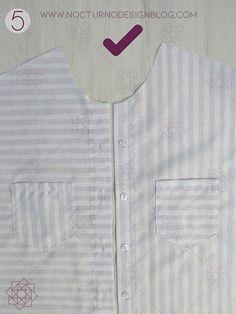 Costura fácil: Camisa a rayas + molde gratis – Nocturno Design Blog Design Blog, Costura Diy, Textiles, Shirt Dress, Sewing, Mens Tops, Shirts, Patterns, Fashion