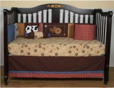 Vintage western baby cowboy nursery crib bedding set with rust crib skirt, bumper, quilt and fitted crib sheet    More ideas on this site too