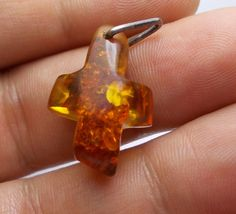 Vintage art Genuine Natural Amber Cross  hand crafted by Miltiadis