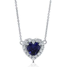 Rhodium Plated Sterling Silver Cubic Zirconia CZ Halo Heart Pendant Necklace 162 Extender * You can find out more details at the link of the image.