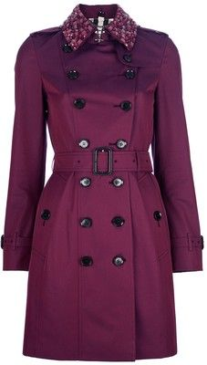 OMG!!!  love this color. BURBERRY LONDON embellished collar trench coat - Polyvore
