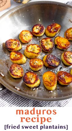 Maduros recipe (fried sweet plantains) made with just brown plantains and butter/ghee. Easy to make and a delicious side dish to any meal.
