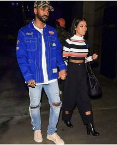 Big Sean With Jhene Aiko Rocking Billionaires Boys Club Jacket, Mr. Completely Tee, Beautiful Jeans And PUMA X Big Sean Sneakers Jhene Aiko, Young Black Couples, Black Love Couples, Mixed Couples, Celebrity Outfits, Celebrity Couples, Celebrity Style, Matching Couple Outfits, Matching Couples
