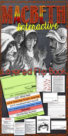 Macbeth: Interactive Layered Flip Book --9 pages of teacher notes for About the Play, Shakespeare, Setting, Key Facts, 3 Apparitions, act and scene-by-scene notes, Journal Prompts for each act aligned ELA CCSS 9-12. Globe Theatre Fill In and answer key. Great alternative to the run-of-the-mill study guide. Students will practice reading / summarization skills, recalling details, writing and inference skills. Great for Center Task / Differentiation -Fast Finishers and Review.